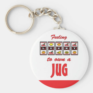 Lucky to Own a Jug Fun Dog Design Basic Round Button Key Ring