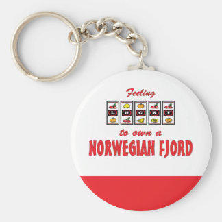 Lucky to Own a Norwegian Fjord Fun Horse Design Basic Round Button Key Ring
