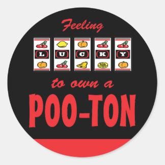Lucky to Own a Poo-Ton Fun Dog Design Round Sticker