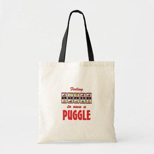 Lucky to Own a Puggle Fun Dog Design Canvas Bags