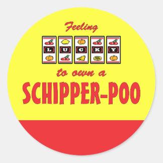 Lucky to Own a Schipper-Poo Fun Dog Design Round Sticker