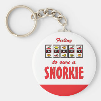 Lucky to Own a Snorkie Fun Dog Design Basic Round Button Key Ring