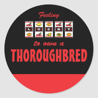 Lucky to Own a Thoroughbred Fun Horse Design Round Stickers