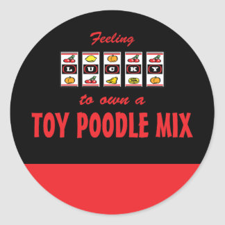 Lucky to Own a Toy Poodle Mix Fun Dog Design Round Sticker