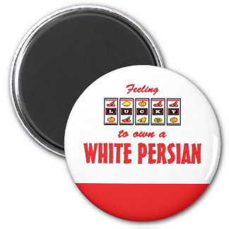 Lucky to Own a White Persian Fun Cat Design Fridge Magnet