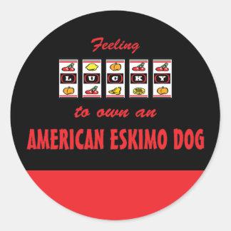Lucky to Own an American Eskimo Dog Fun Dog Design Round Sticker
