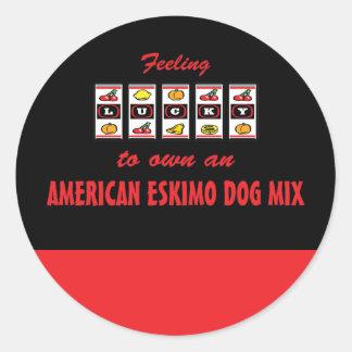Lucky to Own an American Eskimo Dog Mix Fun Design Sticker