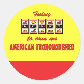 Lucky to Own an American Thoroughbred Fun Design Round Sticker