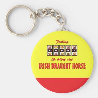 Lucky to Own an Irish Draught Horse Fun Design Basic Round Button Key Ring