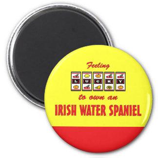 Lucky to Own an Irish Water Spaniel Fun Dog Design 6 Cm Round Magnet