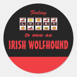 Lucky to Own an Irish Wolfhound Fun Dog Design Round Sticker