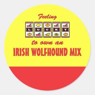 Lucky to Own an Irish Wolfhound Mix Fun Dog Design Round Sticker