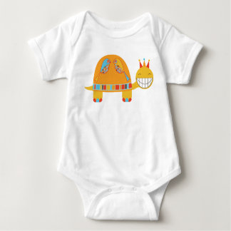 Lucky Turtle with birds and crown Baby Bodysuit