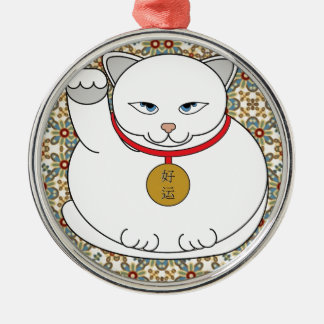 Lucky White Cat Silver-Colored Round Decoration