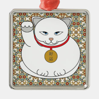 Lucky White Cat Silver-Colored Square Decoration