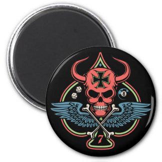 Lucky Winged Maltese Devil Skull of Spades Magnet