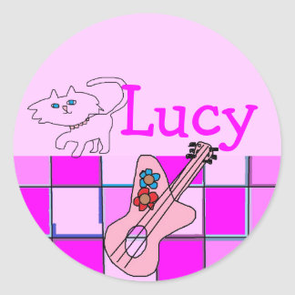 Lucy kitten guitar stickers