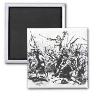 Luddite Rioters Square Magnet
