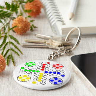 Ludo Classic Board Game Basic Round Button Key Ring