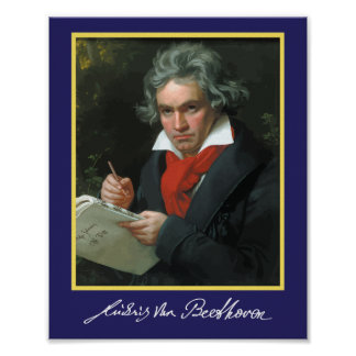 Ludvig Van Beethoven portrait and signature poster