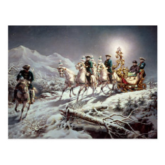 Ludwig II  of Bavaria Sleighing at Night Postcard
