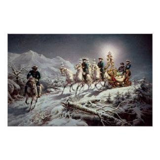 Ludwig II  of Bavaria Sleighing at Night Poster
