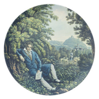 Ludwig van Beethoven by a River (coloured engravin Plate