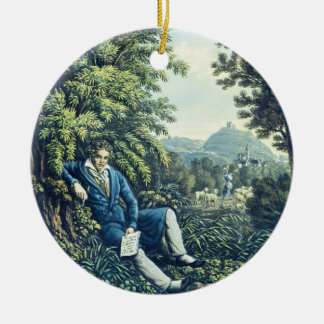Ludwig van Beethoven by a River (coloured engravin Round Ceramic Decoration
