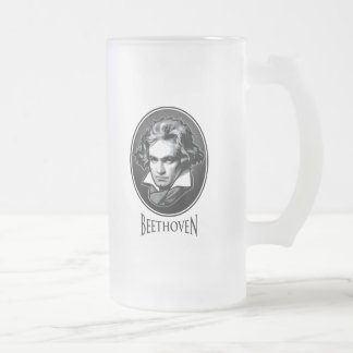 Ludwig van Beethoven Frosted Glass Beer Mug
