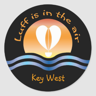 Luffers Sunset_Luff is in the air Key West Classic Round Sticker