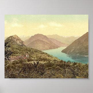 Lugano, Monte Br�, Tessin, Switzerland vintage Pho Print