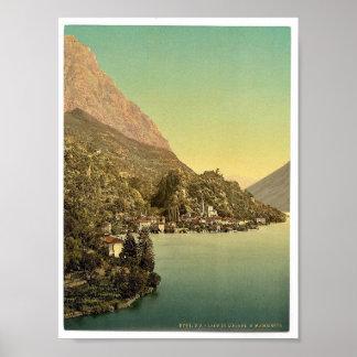 Lugano, San Mammete, Tessin, Switzerland vintage P Print