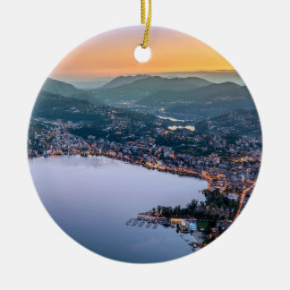 Lugano Switzerland Round Ceramic Decoration
