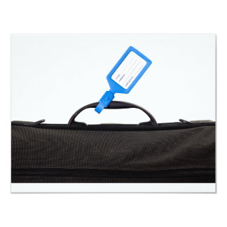 Luggage bag with identification tag personalized announcement