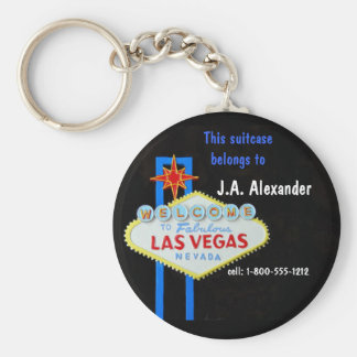 Luggage I.D. Tag Las Vegas Basic Round Button Key Ring