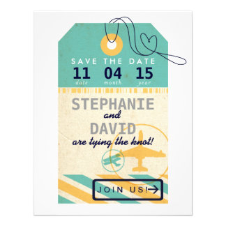 Luggage Tag Airmail Destination Wedding Save Date Invites