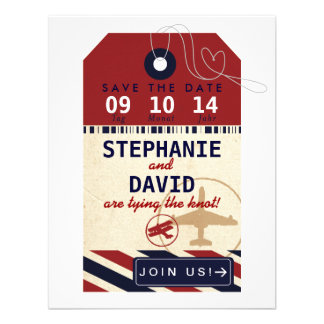 Luggage Tag Airmail Save Date German Deutsch Personalized Announcement