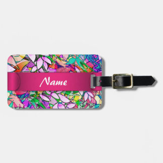 Luggage Tag Grunge Art Floral Abstract
