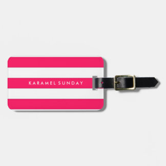 Luggage Tag - Nautical Stripes Red/Pink