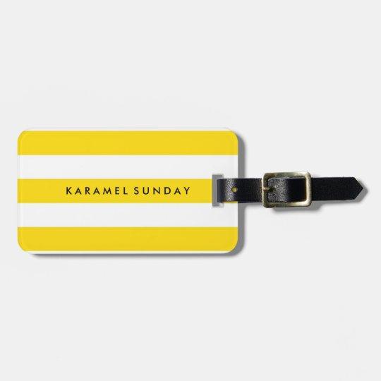 Luggage Tag - Nautical Stripes Yellow