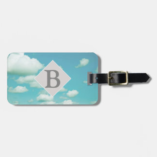 luggage tag personalize it blue sky with clouds