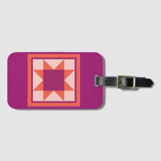 Luggage Tag - Sawtooth Star (hot pink)