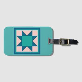 Luggage Tag - Sawtooth Star (teal)