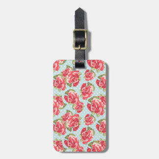 Luggage Tag Shabby Chic Roses Floral Vintage