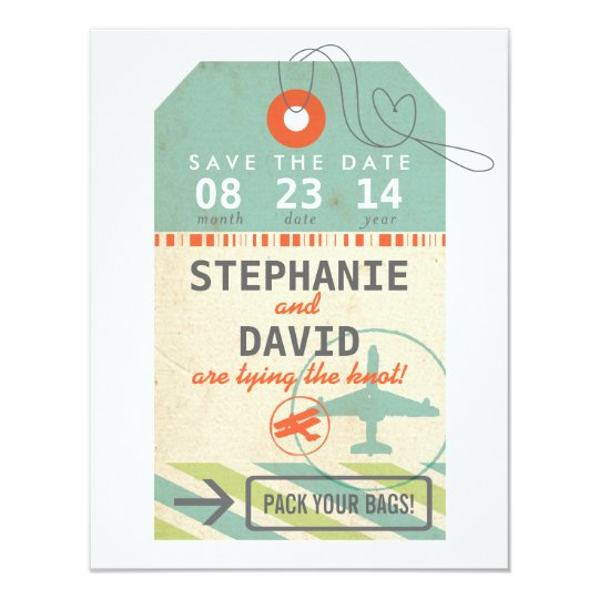 Luggage Tag Vintage Destination Wedding Save Date 11 Cm X 14 Cm Invitation Card