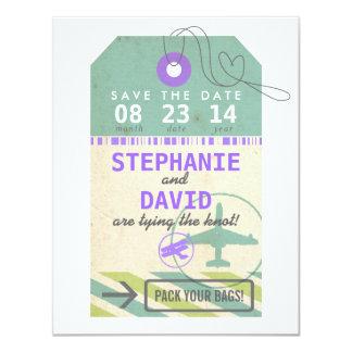 Luggage Tag Vintage Destination Wedding Save Date 11 Cm X 14 Cm Invitation Card