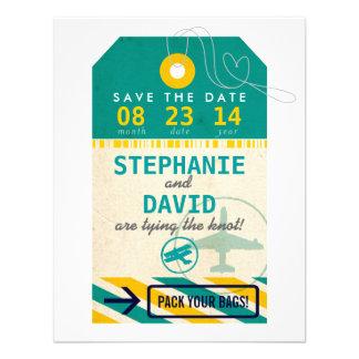 Luggage Tag Vintage Destination Wedding Save Date Invites