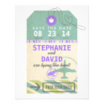 Luggage Tag Vintage Destination Wedding Save Date Personalized Invitations