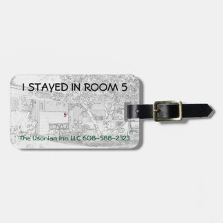 """Luggage Tag w/ leather strap -""""I stayed in room 5"""""""