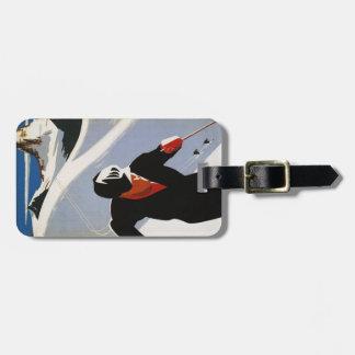 Luggage Tag with Canadian Rockies Ski Print